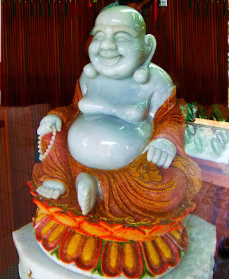 Laughing Jade Buddha Statue with ruby and gold dust
