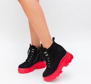 Pantofi Sport negri la moda de fete toamna-iarna cu talpa groasa