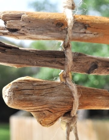 makig a wind chime with driftwood
