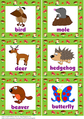 wild animals flashcards with words 2