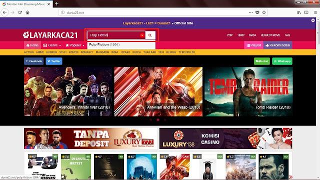Setelah terbuka Sobat tinggal ketik judul filmnya kemudian klik Enter/logo penelusuran.(Contoh lihat gambar)