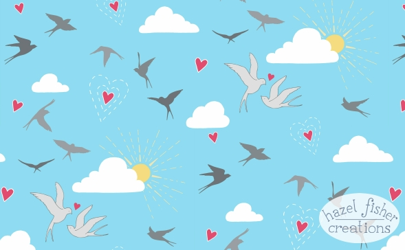 Spoonflower Contest entry 'Love is in the Air' fabric design by hazelfishercreations
