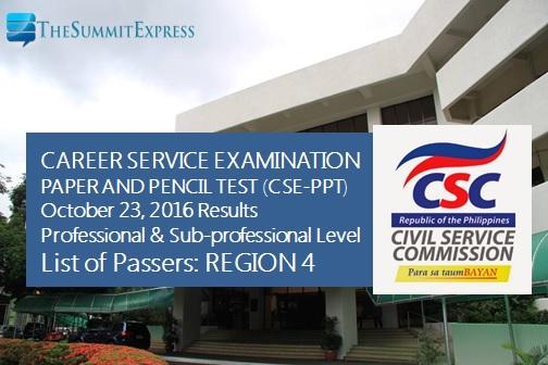 Region 4 October 2016 Civil service exam (CSE-PPT) results