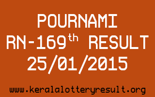 POURNAMI Lottery RN-169 Result 25-01-2015
