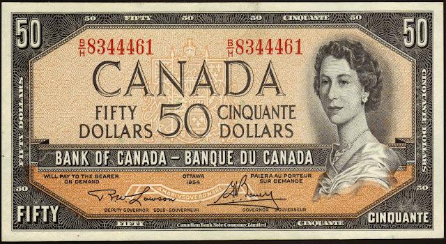 Canadian Banknotes 50 Dollars banknote 1954 Queen Elizabeth II