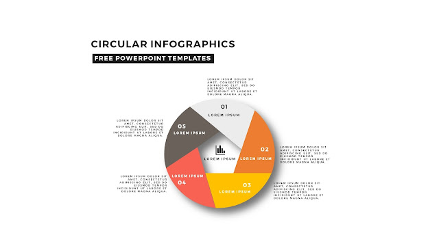 Circular Infographics Free PowerPoint Template with 5 steps