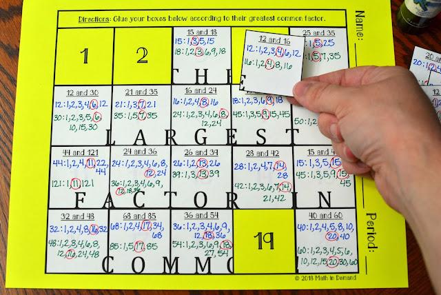 Greatest Common Factor (GCF) Hidden Message Activity