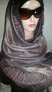Jual Pashmina Kashmir Semi Sutra Motif Loreng (Pasmina Kasmir Cashmere)