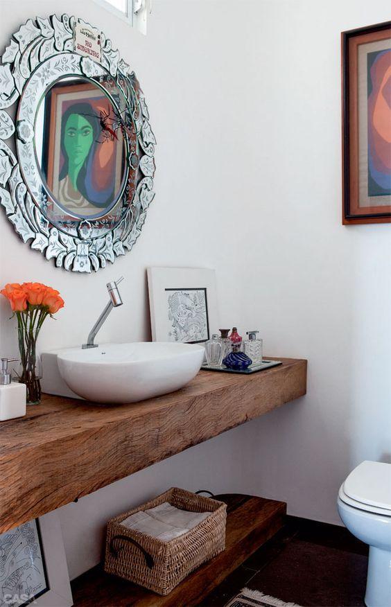decoracao lavabo rustico : decoracao lavabo rustico:Decoração: 10 ambientes em branco com madeira! – Jeito de Casa