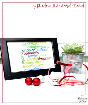 Picture of framed student gift with plant and candy cane