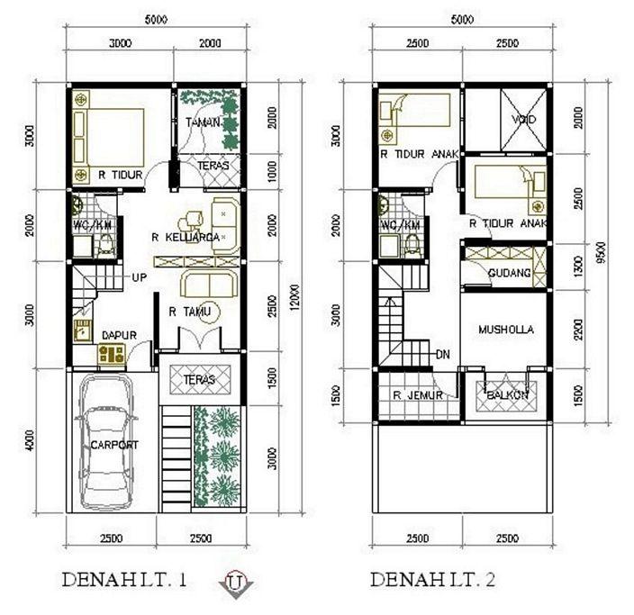 denah rumah 6x10 meter 2 lantai yg terbaru