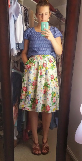 Floral skirt, Thrifted top