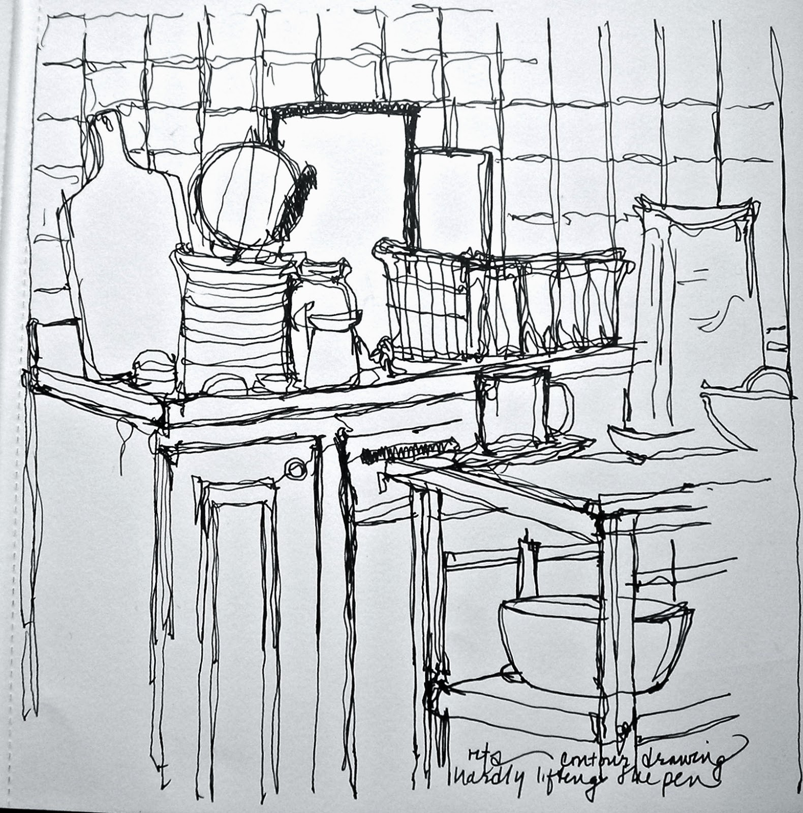 Line Drawing Room : Sketchbook wandering continuous line contour drawing