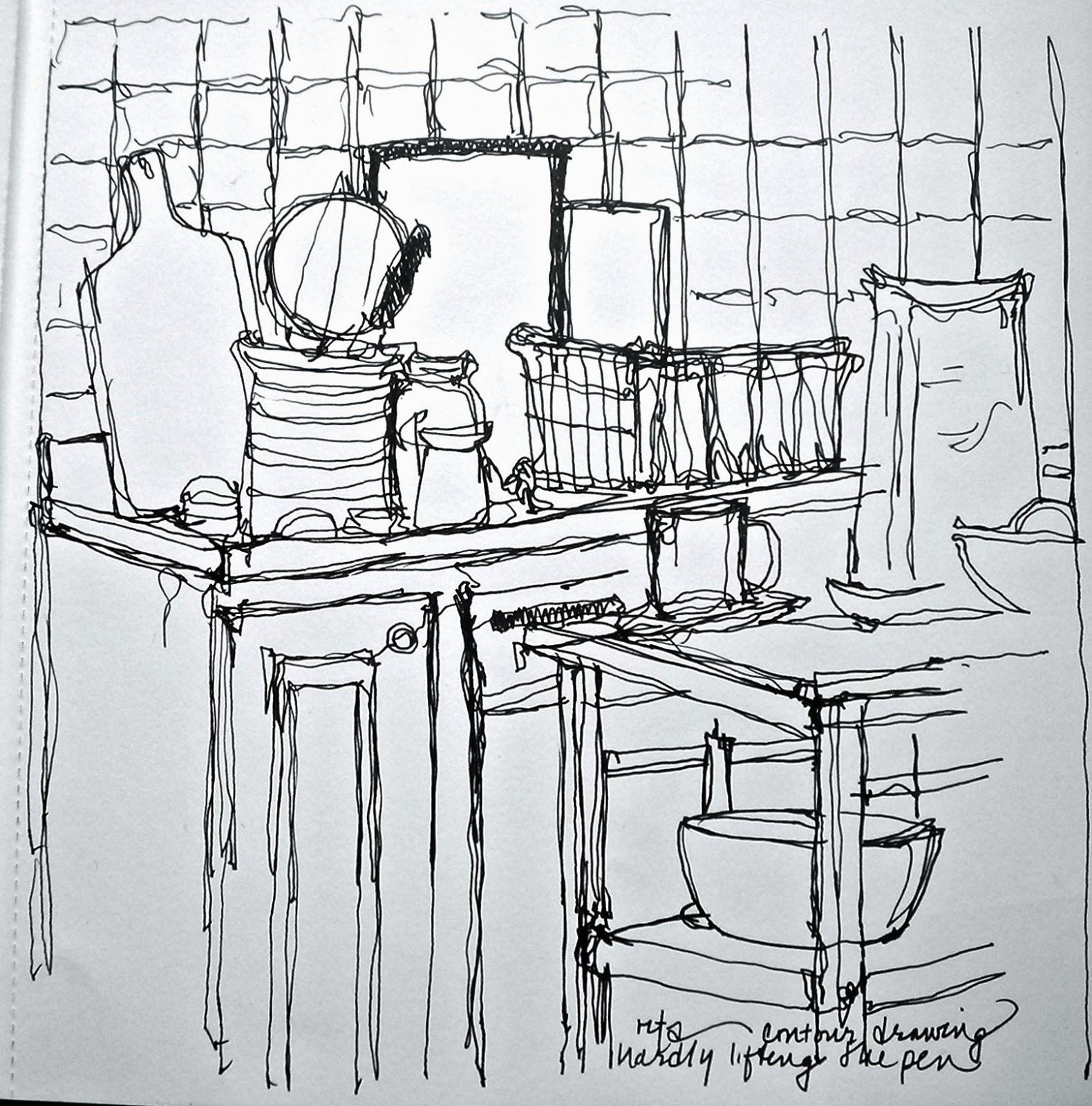 Continuous Contour Line Drawing : Sketchbook wandering continuous line contour drawing