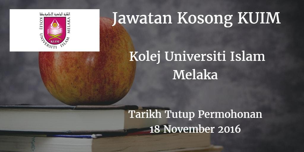 Jawatan Kosong KUIM 18 November 2016