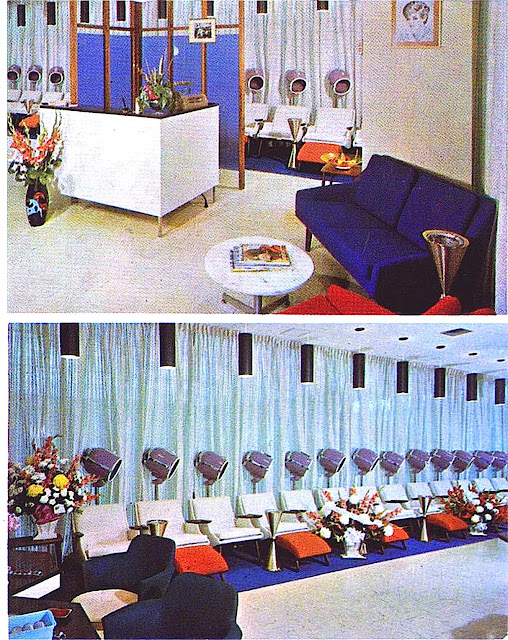 1960s hair salon, color photograph
