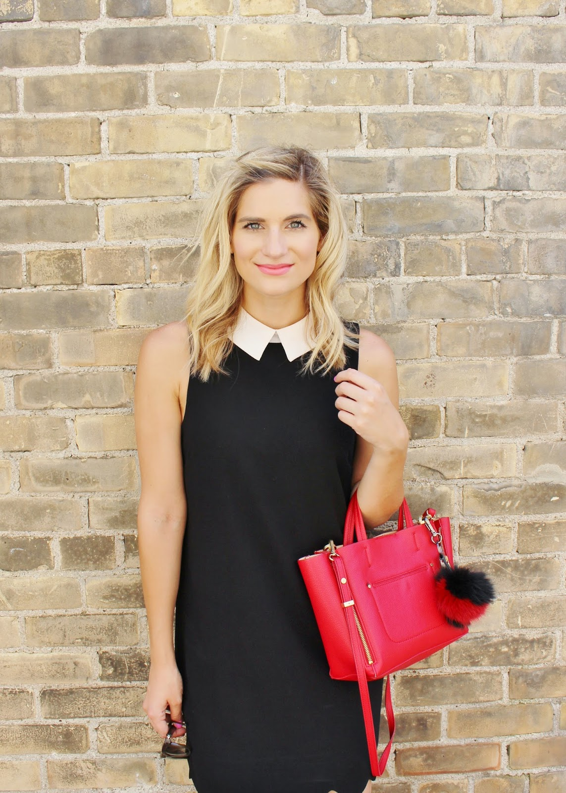 Bijuleni- Preppy peter pan collar black dress, red Ann Taylor tote with pom pom