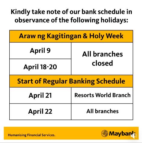 Maybank Holy Week Schedule