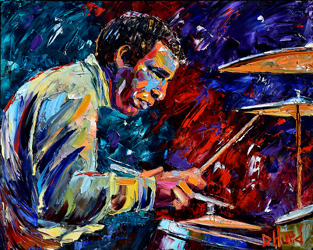 Buddy Rich Live portrait by Debra Hurd Jazz painting music art Drummer paintings Fine Art