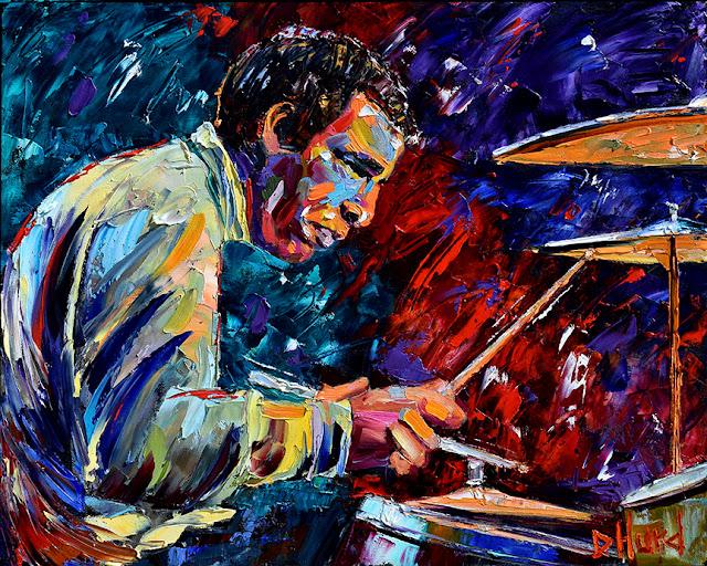 Buddy Rich Live portrait by Debra Hurd Jazz painting music art Drummer paintings Fine Art