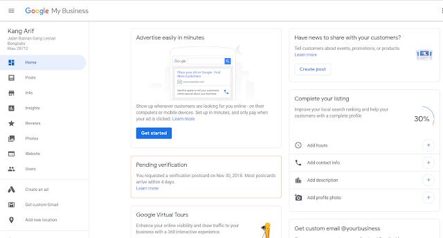 Setelah anda selesai mengisi seluruh form-form tadi dengan benar, anda akan dibawa menuju halaman utama google my business.