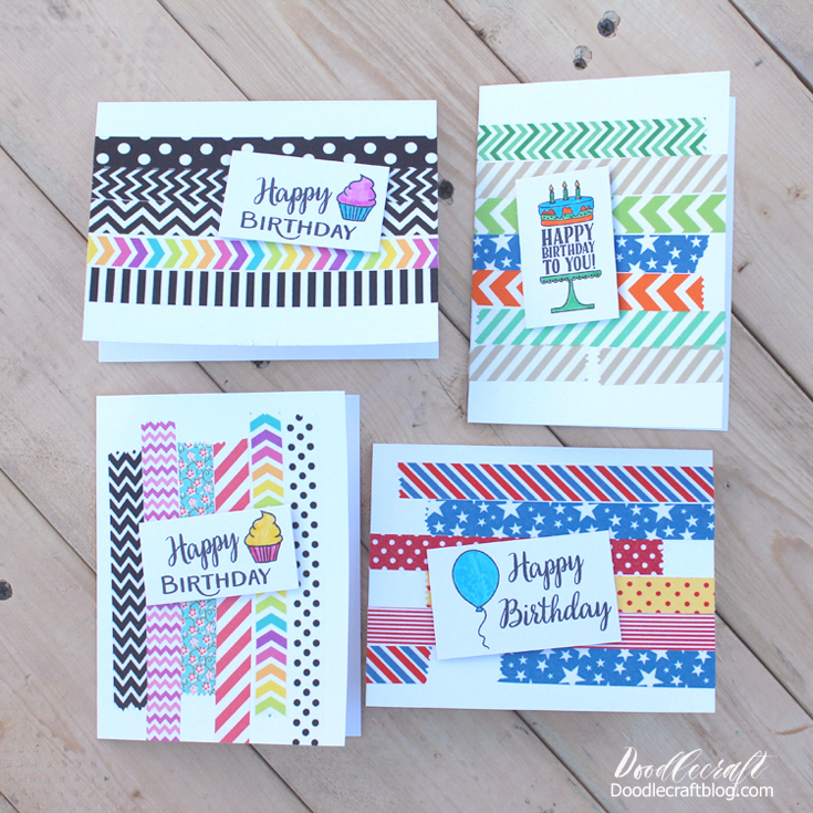 Doodlecraft Simple Washi Tape Birthday Cards Papercrafting