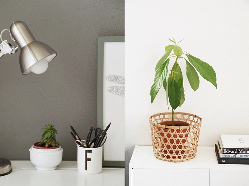 Im Trend: Schlichte Sommerdeko im reduzierten Urban Jungle Stil auf dem Schreibtisch mit Sukkulente, DIY Libellen-Poster, Leuchte und Design Letters Becher und der Kommode mit Avocadopflanze und Bildbänden