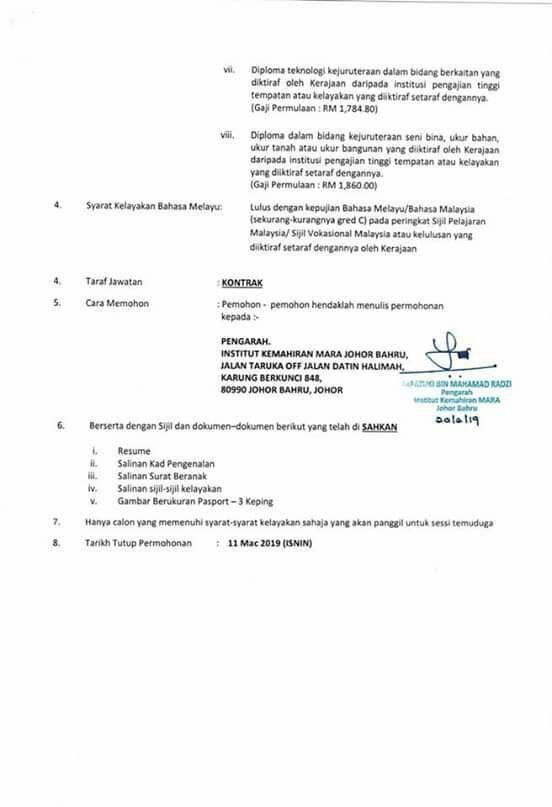 Jawatan Kosong di Institut Kemahiran MARA (IKM) - 11 Mac ...