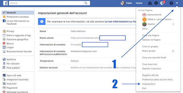 impostazioni sito facebook per cambiare password da computer pc e mac