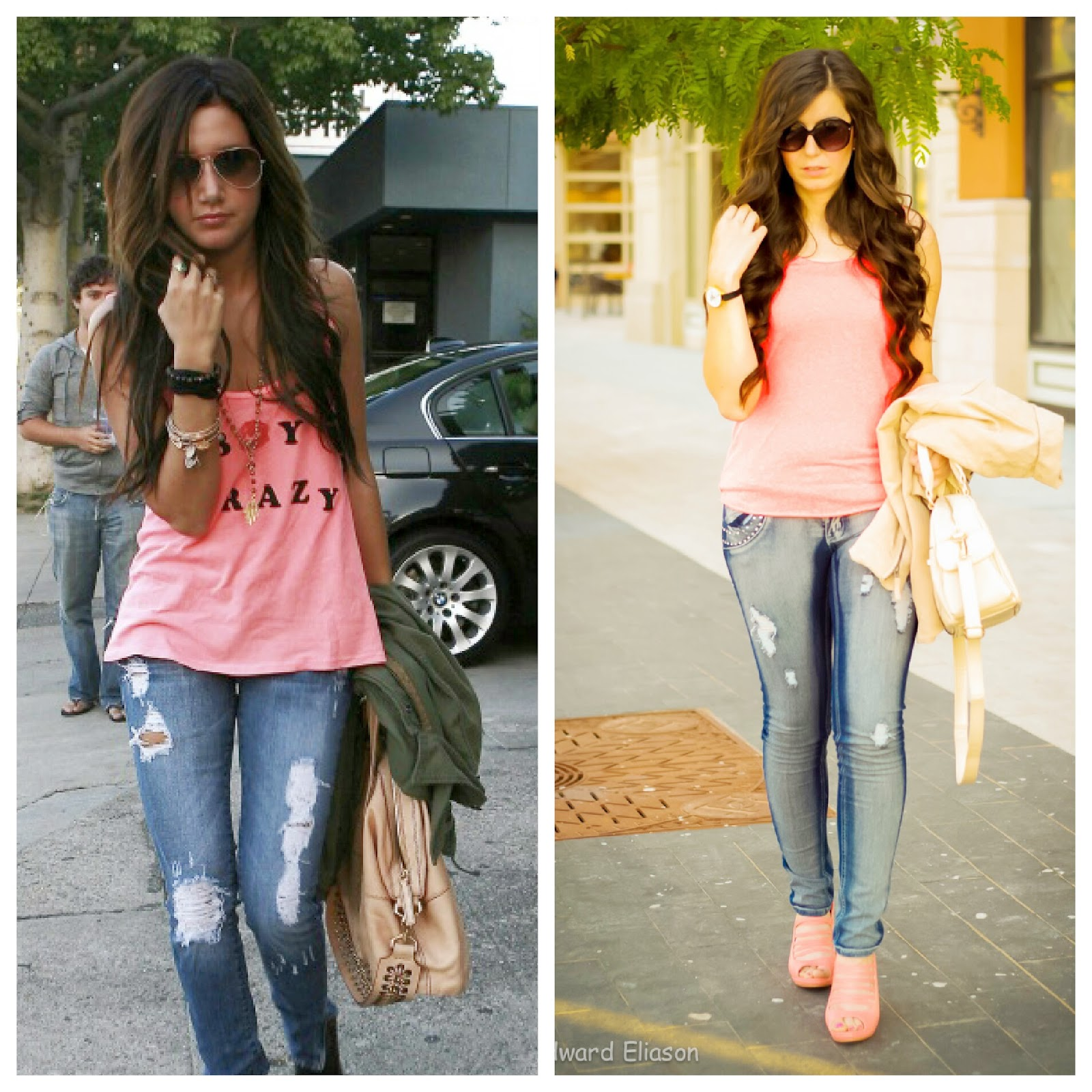 ami clubwear, ashley tisdale, ashley tisdale look for less, jeans and a tshirt, tee, the girl that loves, celebrity look for less, destroyed denim, pink sandals,