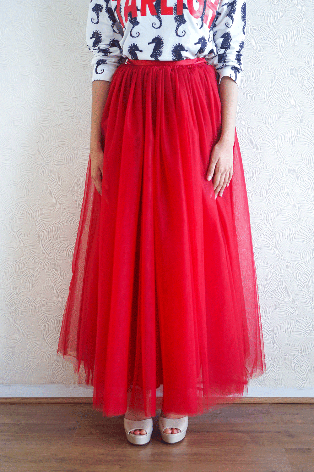 Everyday Red Tulle Skirt