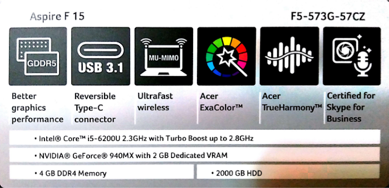 Acer Aspire F15 F5-573G-57CZ