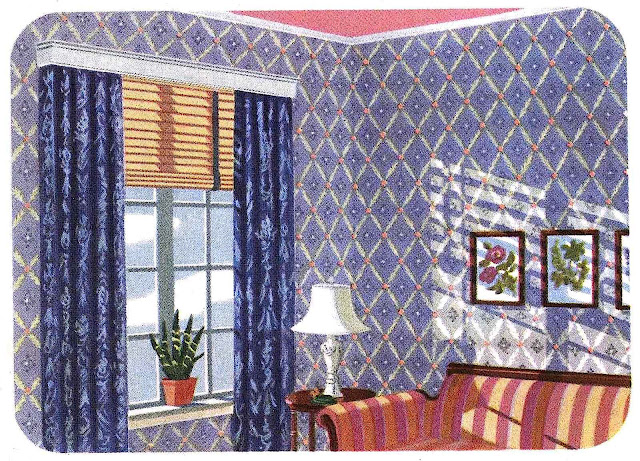 a 1942 home interior illustration, many grids