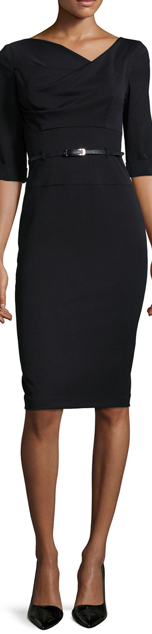 Black Halo Jackie 3/4-Sleeve Sheath Dress black