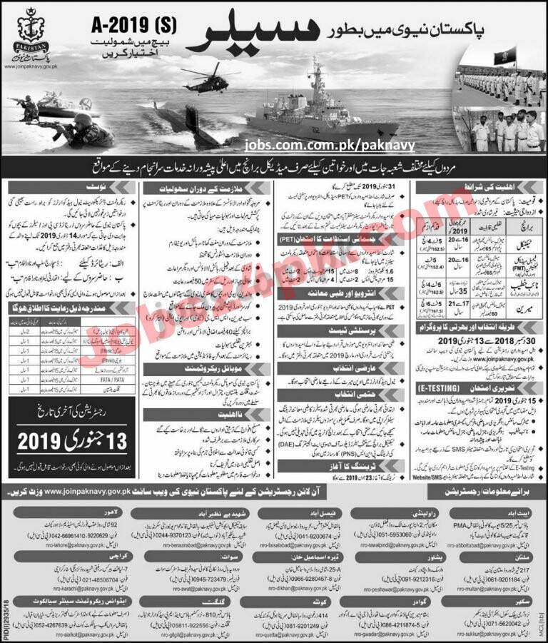 Pakistan Navy jobs 2019 apply online