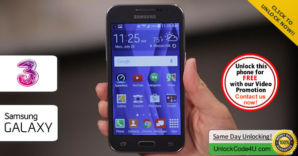 Factory Unlock Code Samsung Galaxy Core Prime VE from Three Network