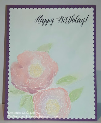 Watercolored card using PTI Peonies on parade stamp for the dailymarker30day challenge