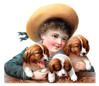 puppies dog boy image victorian illustration clipart digital