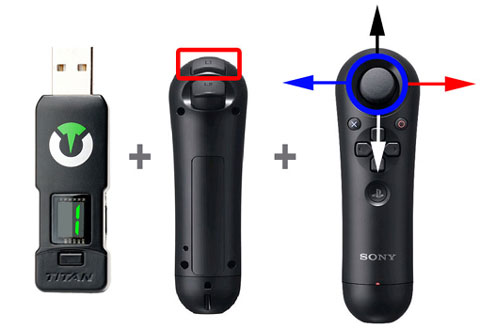 Image of Titan One and Navigation Controller for one-handed video game play. Accessible gaming.