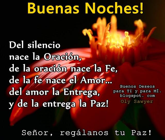 BUENAS NOCHES !  Del silencio nace la Oración, de la oración nace la Fe, de la fe nace el Amor... del amor la Entrega y de la entrega la Paz!  Señor, regálanos tu Paz !