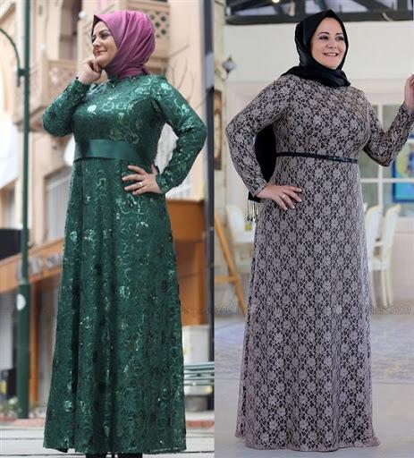 gaun pesta muslim modern untuk orang gemuk terbaru 2016/2017