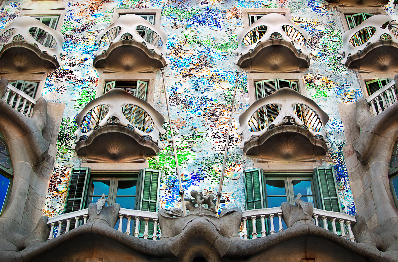 Mask Balconies at Casa Batllo by Gaudi, Barcelona