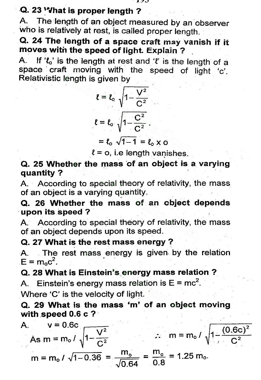 2nd Year Physics Chapter 19 short questions