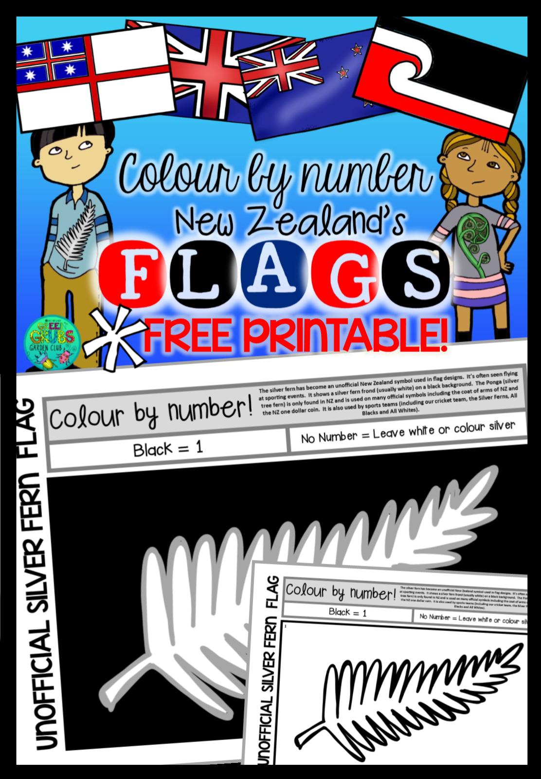 Green Grubs Garden Club Silver Fern Flag Template  FREE PRINTABLE