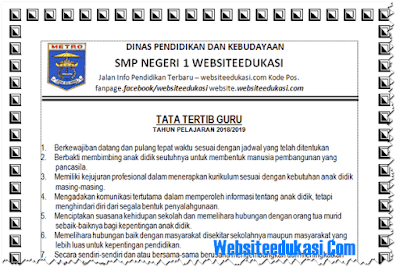 Tata Tertib Guru Tahun Pelajaran 2018/2019