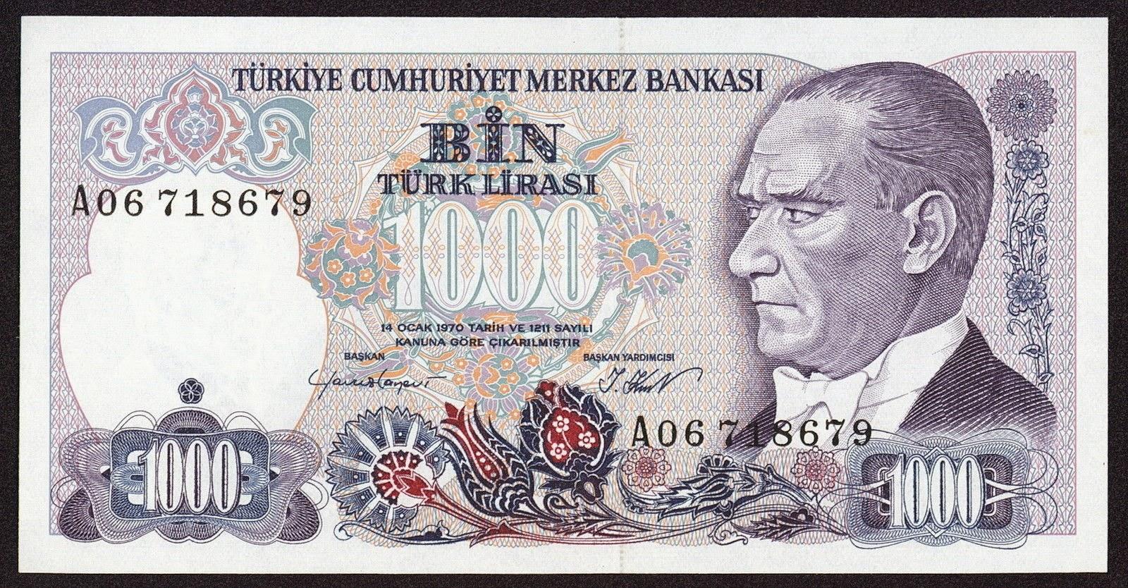 """Turkey Banknotes 1000 Turkish Lira """"Türk Lirasi"""" note 1988 Mustafa Kemal Atatürk"""
