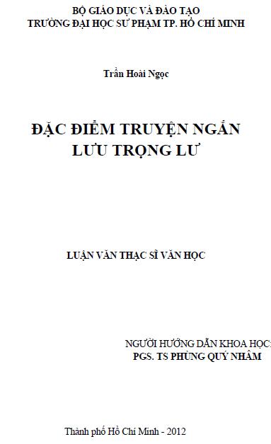 Đặc điểm truyện ngắn Lưu Trọng Lư