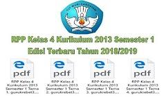 RPP Kelas 4 Kurikulum 2013 Semester 1 Edisi Terbaru Tahun 2018/2019