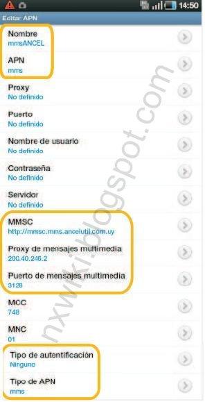 Configuracion APN Samsung Galaxy Android Ancel