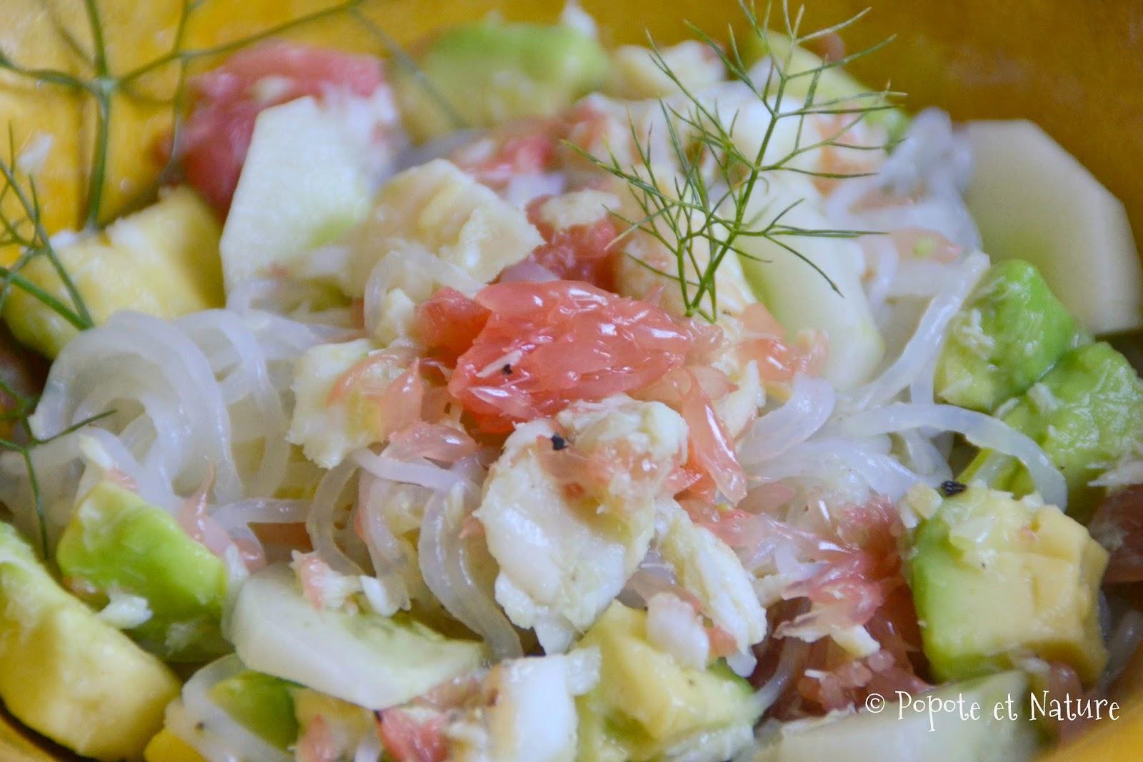 Popote et nature salade l g re au poisson fruits et for Salade poisson